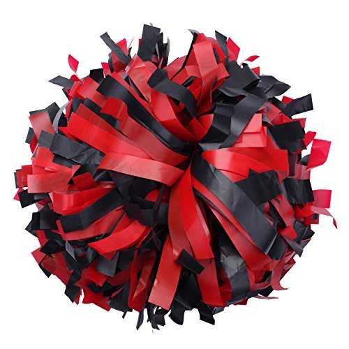 ICObuty Plastic Cheerleading Pom pom 6 inch 1 Pair(Red-Black) -