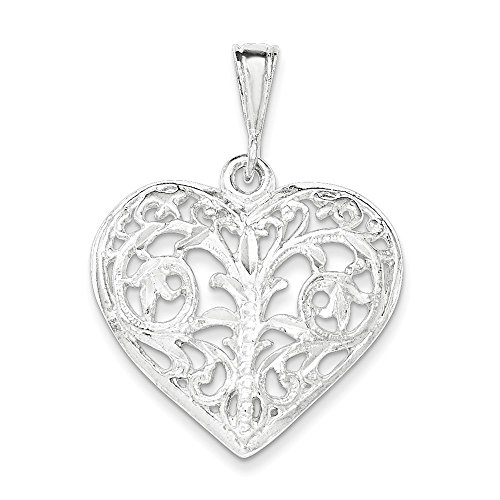 Sterling Silver Filigree Heart Charm (.925 Sterling Silver Filigree Heart Charm Pendant)