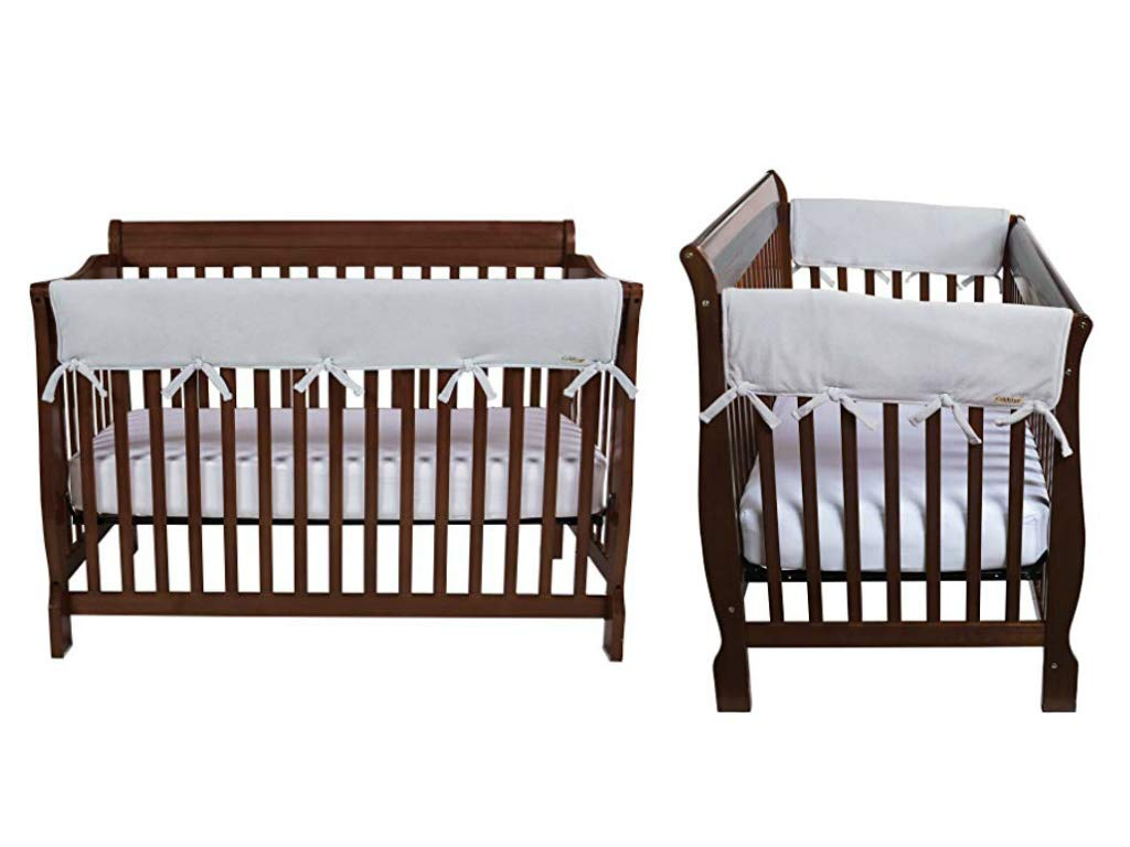 Trend Lab Fleece CribWrap Rail Cover for One Long Rail and Two Crib Side, Gray, Wide for Crib Rails Measuring up to 18'' Around! by Trend Lab