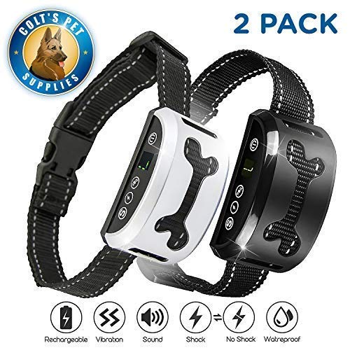 Bark Collar 2 Pack [Upgraded] | Anti-Barking Collar | Smart Chip | Beeps/Vibration/Shock Mode | For Small Medium and Large Dogs All Breeds Over 6 Lbs ()