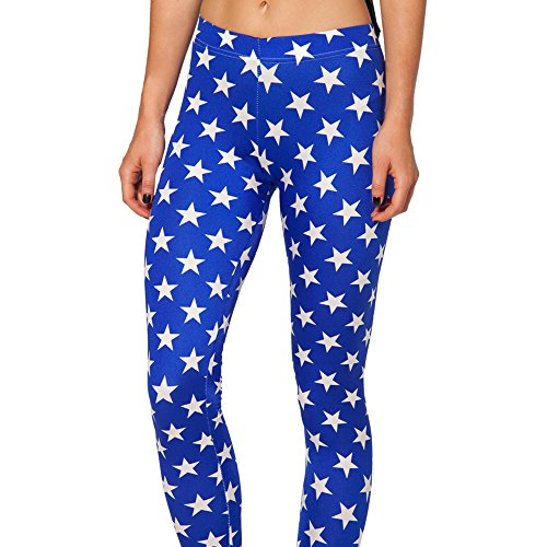 Ensasa Women's Fashion Digital Print Blue Stars Spandex Strenchy Leggings, Blue Large
