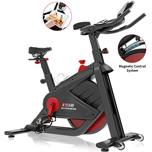 SNODE Magnetic Indoor Cycling Bike - Stationary Pro Belt Drive Spin Bike, Exercise Bike with Ultra-Wide Flywheel, Indoor Home Cardio Workout Exercise(Model: 8722 FIR 2019) (Best Upright Stationary Bike 2019)