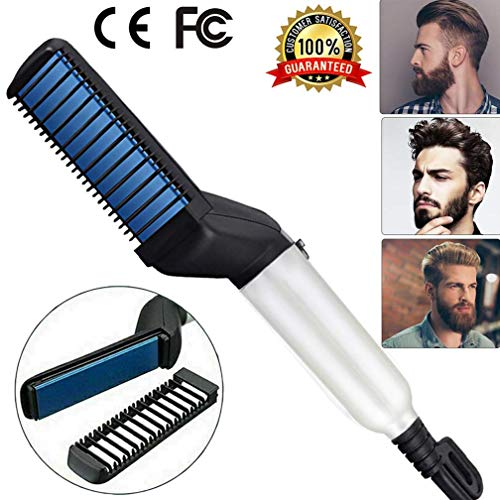 Beard Straightener Brush For Men,BEENLE Electric Heat Beard Straightener and Hair Straightener, Multifunctional Beard and Hair Straightening Brush Comb