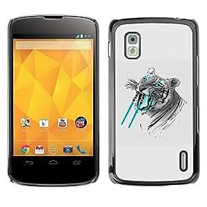 LECELL -- Funda protectora / Cubierta / Piel For LG Google Nexus 4 E960 -- Saber tooth Tiger Funny --