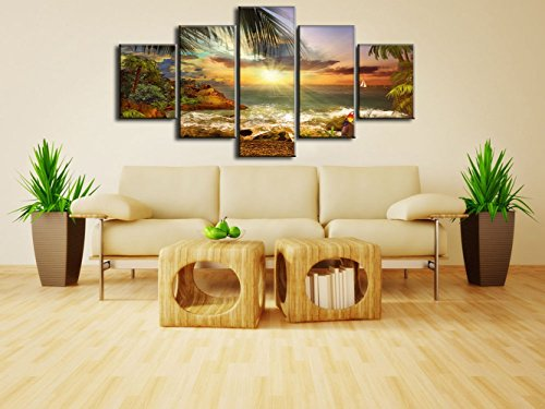 Deco Print - Landscape Extra Large Picture Modern Seaside Painting on Canvas Scene of Sea Waves Palm Tree 5 PCS Framed Seascape Wall Art for Living Room Home Deco Stretched Gallery Wrap Giclee Print(60''W x 40''H)