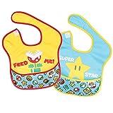 Bumkins Baby Bib, Nintendo Waterproof SuperBib 2 Pack, Super Mario Expressions (Feed Me/Superstar, NT4) (6-24 Months)