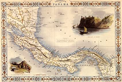 Amazon.com: 1800\'s ISTHMUS OF PANAMA MAP COSTA RICA FORT VINTAGE ...