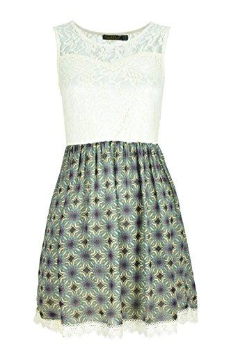 Femmes sans manches robe de soirée avec motif floral