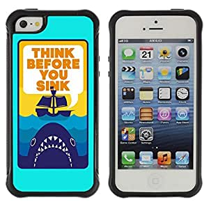 Hybrid Anti-Shock Defend Case for Apple iPhone 5 5S / Shark Message