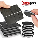 SlipToGrip Furniture Pads - Combo Pack - 24 Pieces 2'' Wide - Includes 2'' Round Pads (8 Pieces) PLUS 4'' Square Prescored Pads (4 Pieces - Makes 16 2'' pcs). Stops Furniture Slipping. It works!