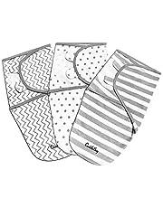 CuddleBug Justerbar babyfilt och sjal (fläckar och ränder), 3-pack (small/medium 0-3 månader gammal)
