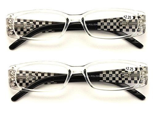 - 2 Pairs Women Fashion Rhinestone Rectangle Reading Glasses With Checkered Temple (Clear, 1.75)