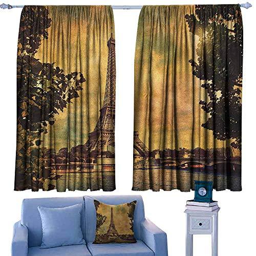 - Eiffel Tower Drapery Eiffel Tower Trees River Bridge Water Daytime Landmark Oil Painting Design,Window Treatment Set for Living Room,W52 x L95 Inch