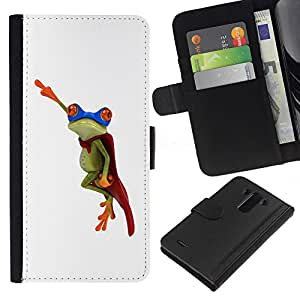 All Phone Most Case / Oferta Especial Cáscara Funda de cuero Monedero Cubierta de proteccion Caso / Wallet Case for LG G3 // Frog Flying Hero White Minimalist