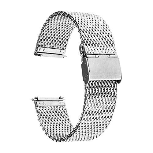 TRUMiRR for Samsung Galaxy Watch 46mm/Gear S3 Bands, 22mm Premium Stainless Steel Watchband Quick Release Strap Bracelet for Fossil Men's Gen 4 Explorist HR, TicWatch Pro (Bracelet Fossil For Man)