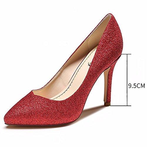 HXVU56546 Zapatos De Mujer Primavera Y Otoño Nueva Boca Superficial Señaló Stilettos red