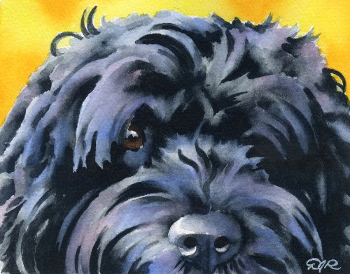 """""""Portuguese Water Dog"""" Art Print Signed by Artist DJ Rogers"""