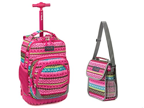 Tilami New Antifouling Design 18 Inch Wheeled Rolling Backpack Luggage & Lunch Bag (Pink love 2)