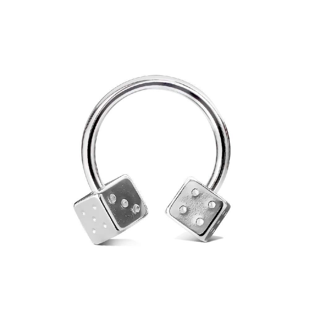 1.2mm rini/_mc2 1 Pc Dice Horseshoe Rings Nipple Nose Septum Ear Tragus Body Piercing Jewelry Pair 16g
