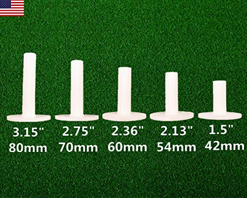 ETRUCTGINA Golf Rubber Tees Driving Range Value 5 Pack, Different Sizes for Golf Mat (Mixed Pack(42mm,54mm,60mm,70mm,80mm))