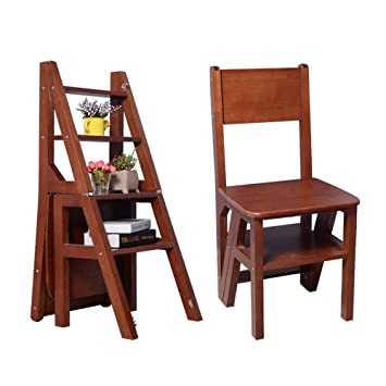 Organizedlife Brown Convertible Ladder Chair Library Kitchen Step Stool