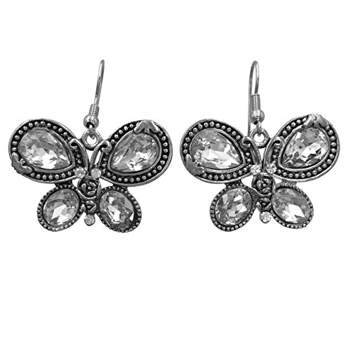 Nature Themed Animal Drop Dangle Earrings (Silver Tone Rhinestone Butterfly)