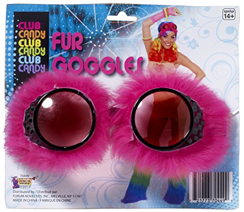 [forum novelties women's club candy novelty faux fur goggles, pink, one size] (Halloween Goggles)