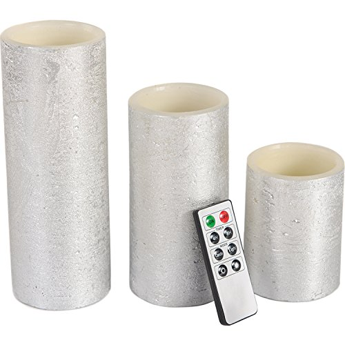 Flameless Candles LED Battery Powered Pillar Tealight Real Scented Wax with Remote by CEDAR HOME, Pack of 3, Silver ()