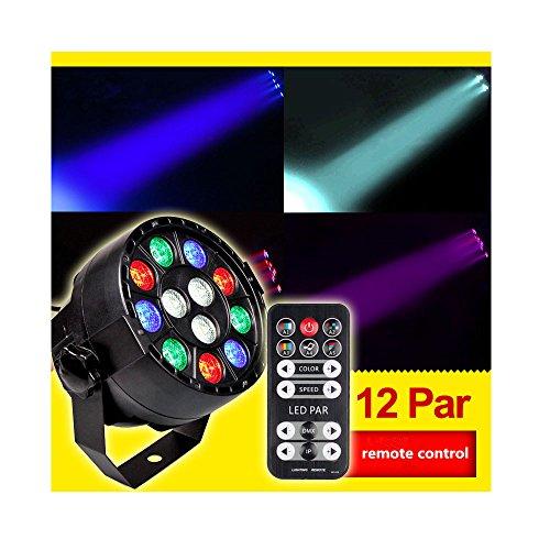 Stage Lights, Mini Sound Activate DMX Control 12 LED Color Mixing Par Spot Light for Club, Dj Show, Family Parties , Ballroom , Disco, KTV, Pub, Bar, Banquet, Weddings ,Indoor Use
