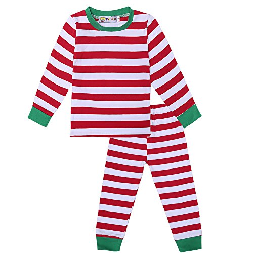 BELLE-LILI Little Girls Christmas Striped Shirt and Pants Pajamas set (5T-6T, Red Striped)
