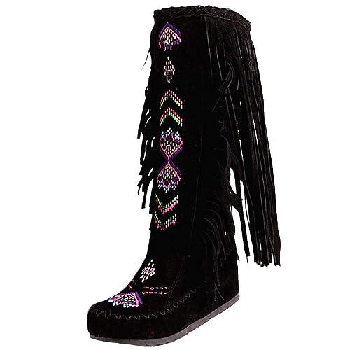 AicciAizzi Mujer Tacon De Cuna Botas Mocasines Flecos: Amazon.es: Zapatos y complementos