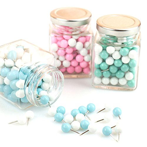 100 PCS Round Head Pushpins, Colorful Bulletin Board Borders Push Pins, Bulletin Boards Thumb Tacks/Drawing Pins Decorative for Cork Boards or Maps of Office and Home