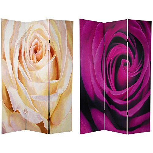 Oriental Furniture 6 ft. Tall Double Sided Roses Room Divider (Sided Room Single Divider)