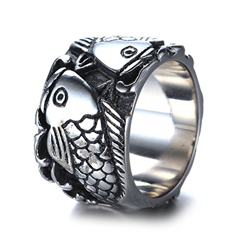 JAJAFOOK Mens Stainless Steel Ring, Vintage Carp Fish, Black Silver