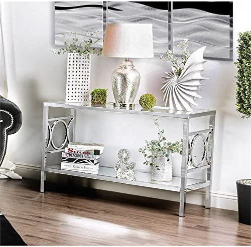 Furniture of America Beller Console Table in Chrome