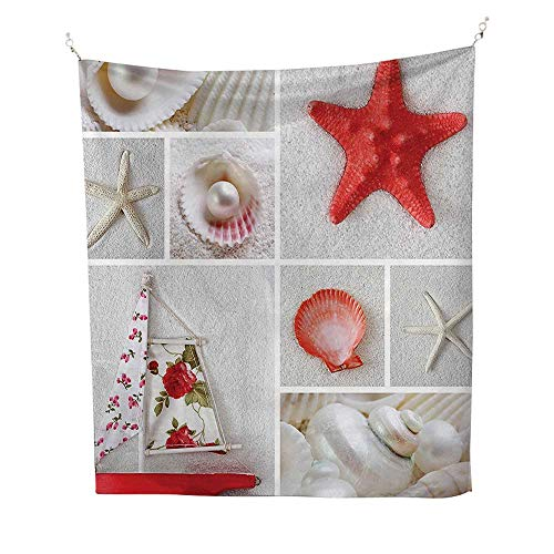 r Tapestry Wall Hanging (70W x 93L INCH Wall Decor Bedroom Living Room DormOcean Nautical Theme Objects Collage Seashells Starfish Scallop Pearl Sailboat Summertime Red Coconut. ()