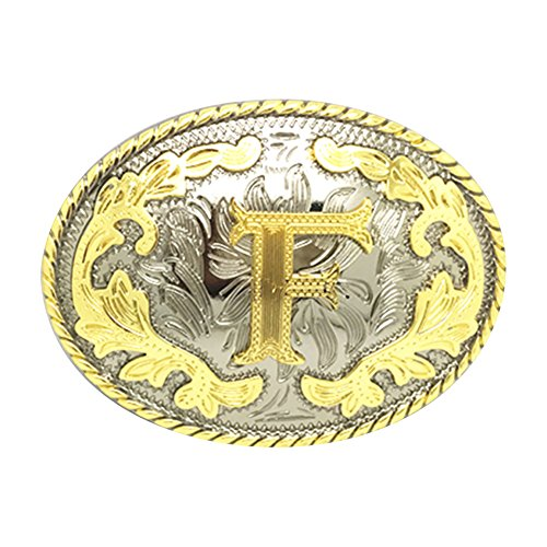 Accessory Cowboy (Western Belt Buckle Initial Letters ABCDEFG to Y-Cowboy Rodeo Gold Large Belt Buckle for Men and Women (F))