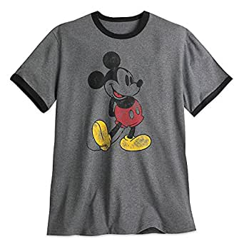 Disney Mickey Mouse Classic Ringer Tee for Men Size Mens XXL Gray
