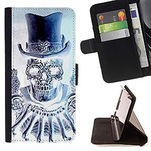 BullDog Case - FOR/Samsung Galaxy Core Prime / - / TOP HAT BLING DIAMOND SKULL DEATH /- Monedero de cuero de la PU Llevar cubierta de la caja con el ID Credit Card Slots Flip funda de cuer
