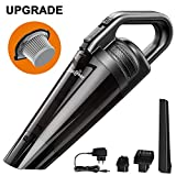 LIBERRWAY Handheld Cordless Vacuum, 100W 6000pa Portable Rechargeable Car Vacuum Cleaner 2600mAh Lithium Battery Wet Dry Hoover with Light and Stainless Steel Filter for Home Car, Black