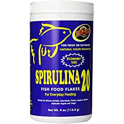 Zoo Med Spirulina 20 Flake Fish Food, 4-Ounce