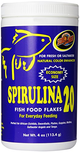 African Zoo - Zoo Med Spirulina 20 Flake Fish Food, 4-Ounce