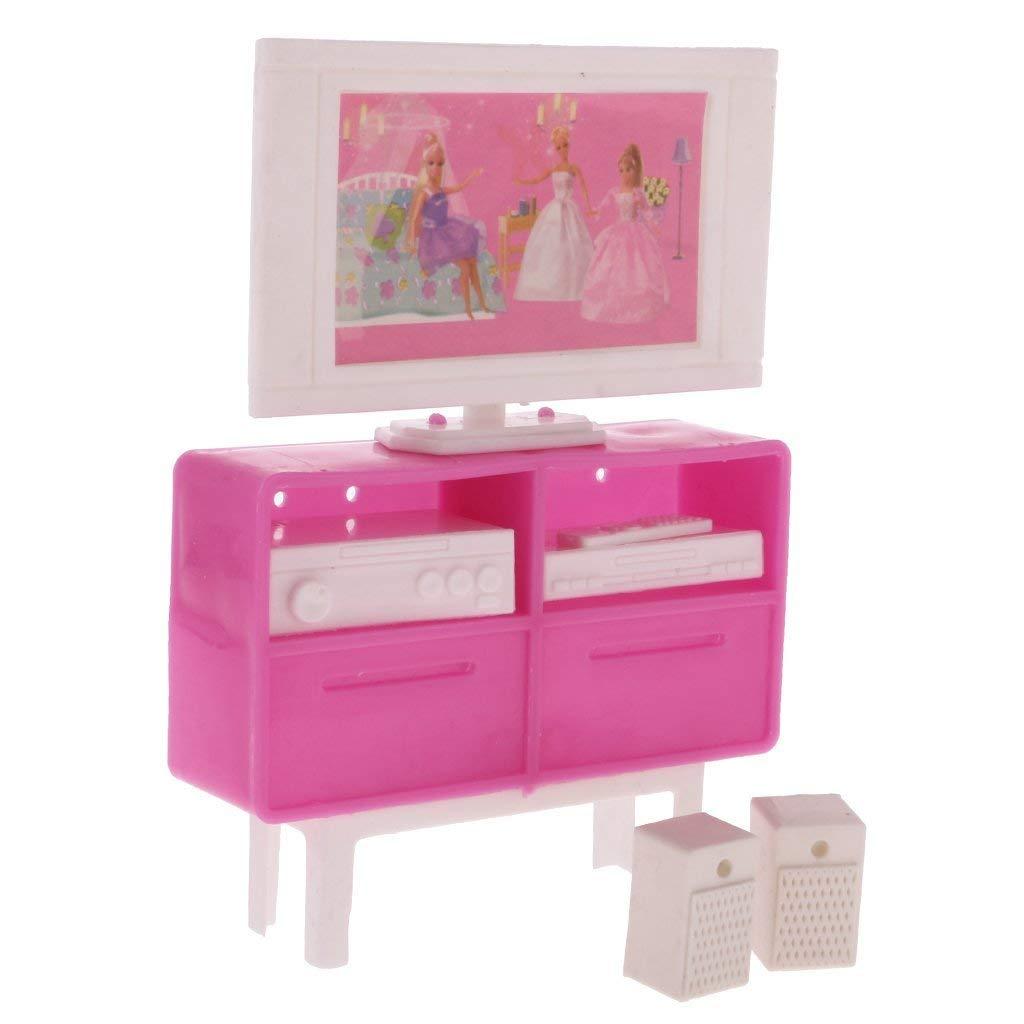 DDG EDMMS 01h12 Meuble TV Dollhouse Accessoires Moderne Salon Chambre Mini Téléviseur Meubles pour Enfants Barbie à Jouer - Rose