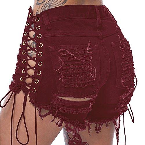 Vino De Shorts Rotos Corto Mezclilla Baja Mujeres Vaqueros Rojo Básico Cintura 7zx7wU6q