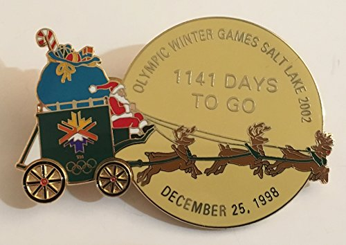 Rare 1998 Christmas Santa Sleigh Rein Deer Salt Lake City Holiday Winter Games Olympics Countdown Pin LE 611/1000