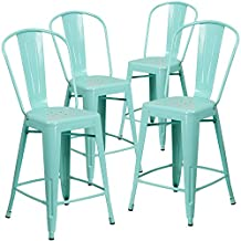 Flash Furniture 24'' High Mint Green Metal Indoor-Outdoor Counter Height Stool with Back (4 Pack)