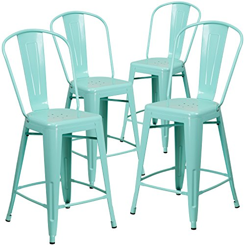 Flash Furniture 4 Pk. 24'' High Mint Green Metal Indoor-Outdoor Counter Height Stool with - Mint Outdoor Chair