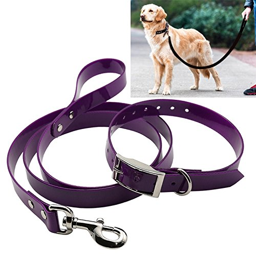 Purple HHF Pet Supplies Pet Dogs TPU Material Traction Belt Collar Telescopic Dog Traction Rope with Dog Leash Handle, Size  S, Rope Length  120 cm, Collar Size  40 cm (color   Purple)
