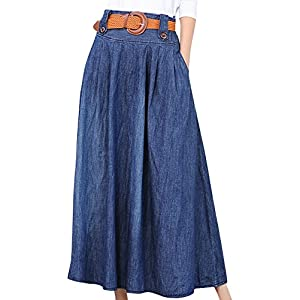 Vocni Women Vintage A Line Flared Elastic Waist Denim Jeans Long Skirt