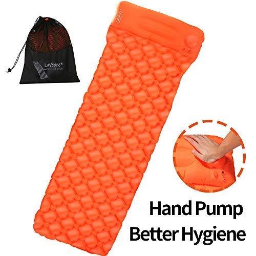 Lavcare Hand Press Inflatable Sleeping pad, Ultralight Sleeping Pad, Built-in Hand-Press Pump& Head Support, Waterproof, Nylon Elastic TPU Fabric,Camping Pad, Sleeping Mat.